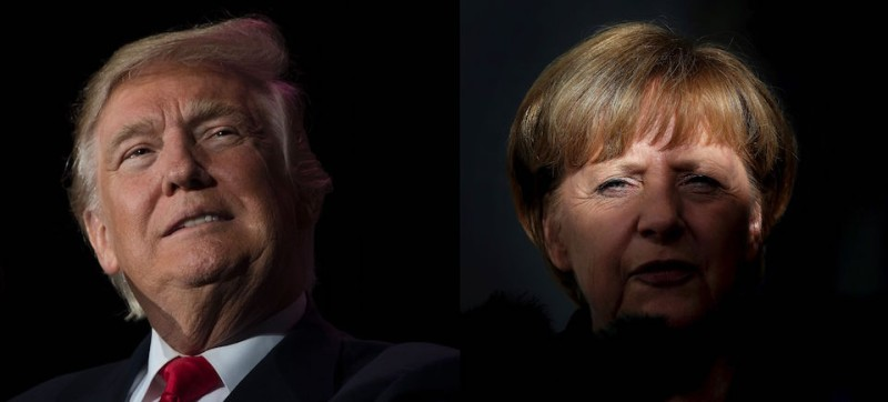 "(COMBO) This combination of file photos created on January 16, 2017 shows US President-elect Donald Trump (December 16, 2016 in Orlando, Florida) and German Chancellor Angela Merkel (R, September 17, 2013 in Magdeburg). Chancellor Angela Merkel made a ""catastrophic mistake"" in letting migrants flood into Germany, US President-elect Donald Trump said in a newspaper interview on January 15, 2017.  / AFP / Jim WATSON AND Ronny HARTMANN        (Photo credit should read JIM WATSON,RONNY HARTMANN/AFP/Getty Images)"