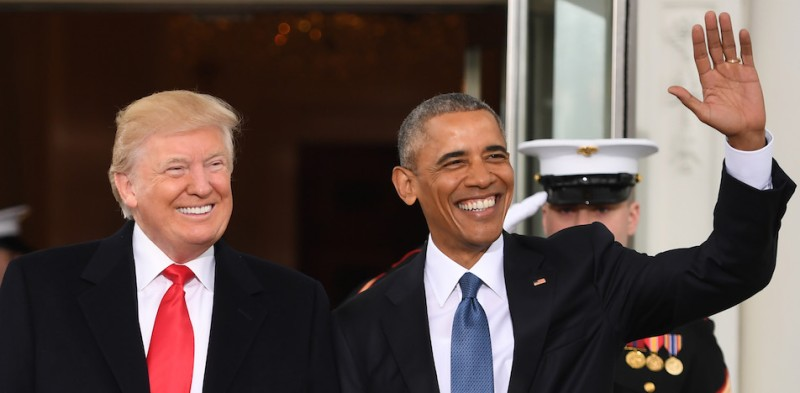 TOPSHOT - US President Barack Obama(R)welcomes President-elect Donald Trump to the White House in Washington, DC January 20, 2017.  / AFP / JIM WATSON        (Photo credit should read JIM WATSON/AFP/Getty Images)