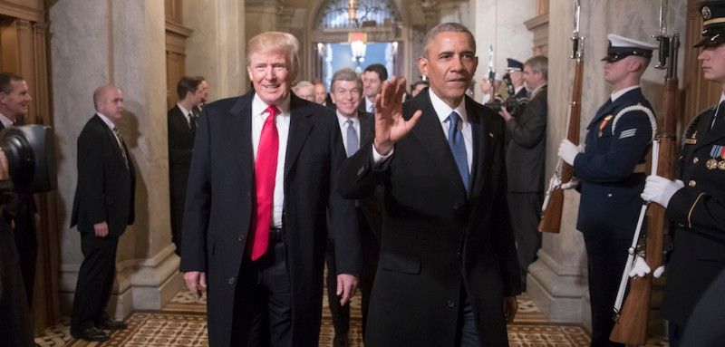 WASHINGTON, DC - JANUARY 20:  President-elect Donald Trump, left, and President Barack Obama arrive for Trump's inauguration ceremony at the Capitol in Washington, Friday, Jan. 20, 2017. Trump, a real estate mogul and reality television star who upended American politics and energized voters angry with Washington, will be sworn in as the 45th president of the United States, putting Republicans in control of the White House for the first time in eight years.  (Photo by  Scott Applewhite - Pool/Getty Images)