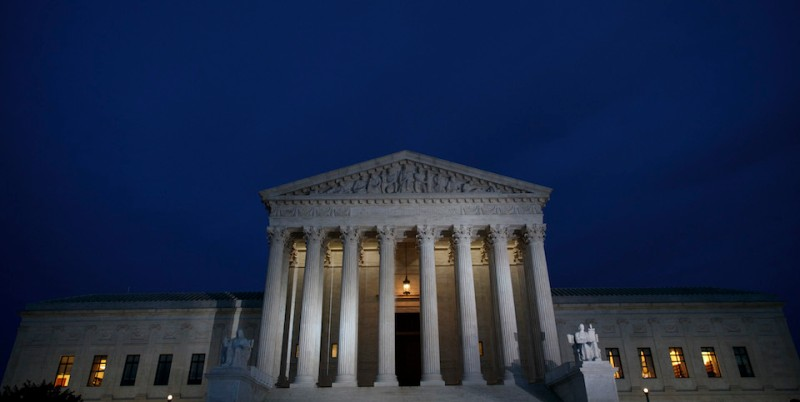 WASHINGTON, DC - JANUARY 31: A view of the Supreme Court at dusk, January 31, 2017 in Washington, DC. President Donald Trump will announce his nominee for the Supreme Court on Tuesday night. (Photo by Drew Angerer/Getty Images)