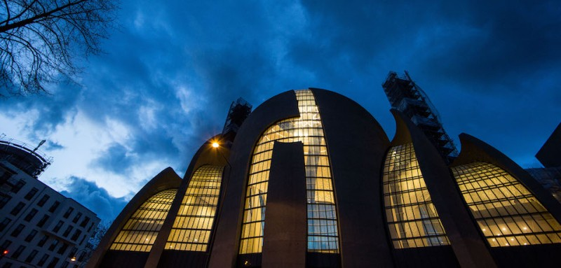 COLOGNE, GERMANY - FEBRUARY 23: The central mosque of DITIB, the Turkish Islamic union that runs Turkish mosques across Germany, stands at twilight on February 23, 2017 in Cologne, Germany. German authorities have launched investigations into the activities of DITIB imams and other employees over allegations of spying against Turks in Germany whom the Turkish state suspects of having ties to the Gulen movement. DITIB is the religious arm of the Turkish state. Its imams are schooled in Turkey and their salaries paid by the Turkish government. Turkish President Recep Tayyip Erdogan has launched a massive attack against the movement of his rival Fethullah Gulen, arresting thousands of people Erdogan accuses of supporting Gulen and playing a role in the 2016 failed coup attempt in Turkey. Gulen has a strong following among Turks in Germany and the movement runs a network of schools and other institutions. (Photo by Maja Hitij/Getty Images)