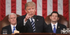 US President Donald J. Trump delivers his first address to a joint session of Congress from the floor of the House of Representatives in Washington, DC, USA, 28 February 2017. / AFP / POOL / JIM LO SCALZO        (Photo credit should read JIM LO SCALZO/AFP/Getty Images)