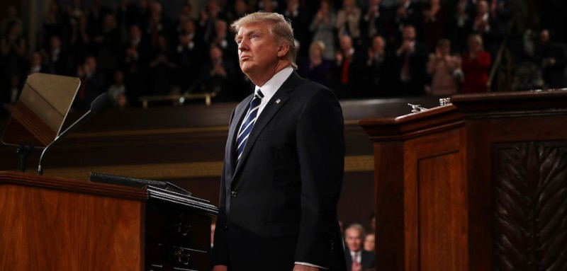 WASHINGTON, DC - FEBRUARY 28:  (AFP OUT) U.S. President Donald Trump addresses a joint session of the U.S. Congress on February 28, 2017 in the House chamber of the U.S. Capitol in Washington, DC. Trump's first address to Congress focused on national security, tax and regulatory reform, the economy, and healthcare. (Photo by Jim Lo Scalzo - Pool/Getty Images)