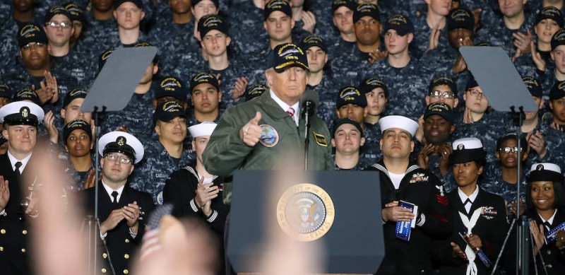 NEWPORT NEWS, VA - MARCH 02: U.S. President Donald Trump speaks to members of the U.S. Navy and shipyard workers on board the USS Gerald R. Ford CVN 78 that is being built at Newport News shipbuilding, on March 2, 2017 in Newport News, Virginia. The USS Ford is powered by two Nuclear reactors and is 1, 092 feet long with a 134 foot beam and can carry over 75 aircraft.  (Photo by Mark Wilson/Getty Images)