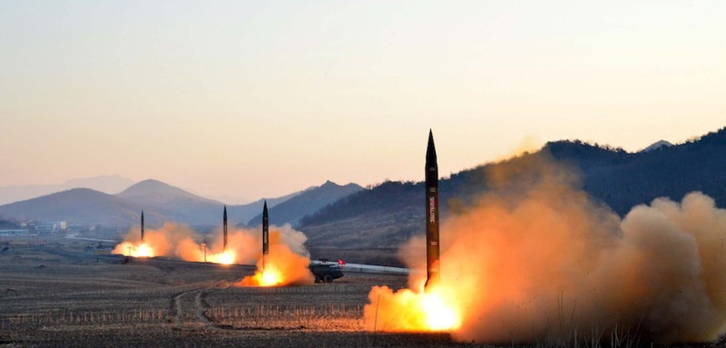 "TOPSHOT - This undated picture released by North Korea's Korean Central News Agency (KCNA) via KNS on March 7, 2017 shows the launch of four ballistic missiles by the Korean People's Army (KPA) during a military drill at an undisclosed location in North Korea.  Nuclear-armed North Korea launched four ballistic missiles on March 6 in another challenge to President Donald Trump, with three landing provocatively close to America's ally Japan. / AFP PHOTO / KCNA VIA KNS / STR / South Korea OUT / REPUBLIC OF KOREA OUT   ---EDITORS NOTE--- RESTRICTED TO EDITORIAL USE - MANDATORY CREDIT ""AFP PHOTO/KCNA VIA KNS"" - NO MARKETING NO ADVERTISING CAMPAIGNS - DISTRIBUTED AS A SERVICE TO CLIENTS THIS PICTURE WAS MADE AVAILABLE BY A THIRD PARTY. AFP CAN NOT INDEPENDENTLY VERIFY THE AUTHENTICITY, LOCATION, DATE AND CONTENT OF THIS IMAGE. THIS PHOTO IS DISTRIBUTED EXACTLY AS RECEIVED BY AFP.  /         (Photo credit should read STR/AFP/Getty Images)"