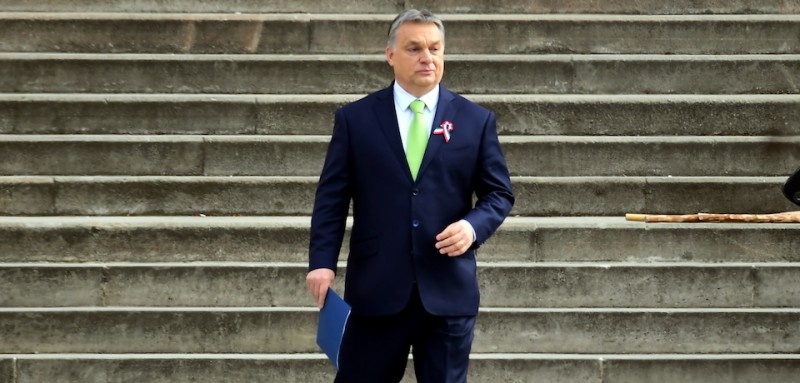 Hungarian Prime Minister Viktor Orban arrives on the podium prior to his speech in front of the National Museum of Budapest on March 15, 2017, during the official commemoration of the 169th anniversary of the 1848-1849 Hungarian revolution and independence war. The revolution in the kingdom of Hungary grew into a war for independence from the Habsburg rule. / AFP PHOTO / ATTILA KISBENEDEK        (Photo credit should read ATTILA KISBENEDEK/AFP/Getty Images)