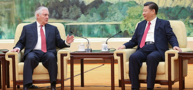 BEIJING, CHINA - MARCH 19:  Chinese President Xi Jinping (R) meets with U.S. Secretary of State Rex Tillerson (L) at the Great Hall of the People on March 19, 2017 in Beijing, China. Tillerson is on his first visit to Asia as Secretary of State.   (Photo by Lintao Zhang/Getty Images)