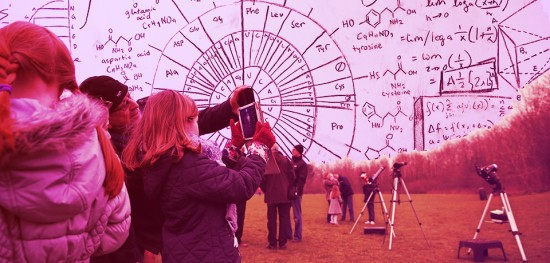 A young girl looks at a star gazing app on an ipad during the partial solar eclipse at Hatch Warren near Basingstoke, southwest of London on March 20, 2015. The Basingstoke Astronomical Society held an informal meeting where people could look through different telescopes at the eclipse. However, the skies over Basingstoke were cloudy and the solar eclipse was not visible although it got noticeably darker. AFP PHOTO / ADRIAN DENNIS        (Photo credit should read ADRIAN DENNIS/AFP/Getty Images)