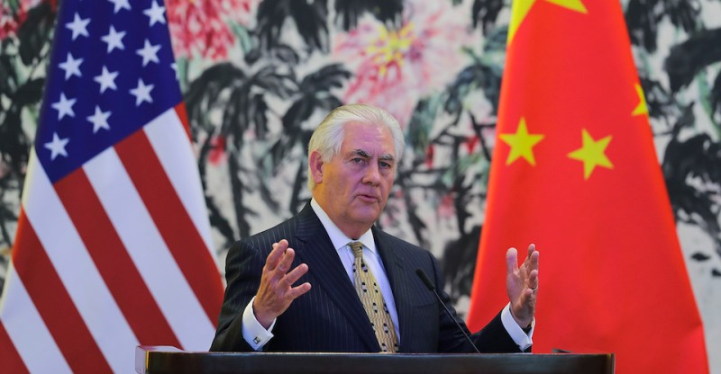 BEIJING, CHINA - MARCH 18:  U.S. Secretary of State Rex Tillerson speaks during a joint press conference with Chinese Foreign Minister Wang Yi (not pictured) at Diaoyutai State Guesthouse on March 18, 2017 in Beijing, China. Tillerson is on his first visit to Asia as Secretary of State. (Photo by Lintao Zhang - Pool/Getty Images)