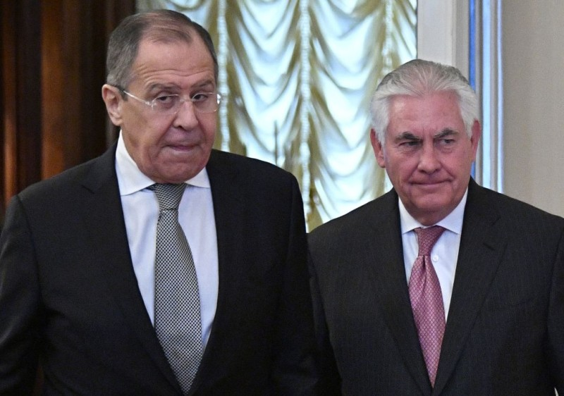 Russian Foreign Minister Sergei Lavrov (R) US Secretary of State Rex Tillerson enter a hall during a meeting in Moscow on April 12, 2017.   Tillerson meets Lavrov as Washington confronts Moscow about its support for the Syrian regime. Tillerson said that he wanted a frank exchange on the countries' relations. / AFP PHOTO / Alexander NEMENOV        (Photo credit should read ALEXANDER NEMENOV/AFP/Getty Images)