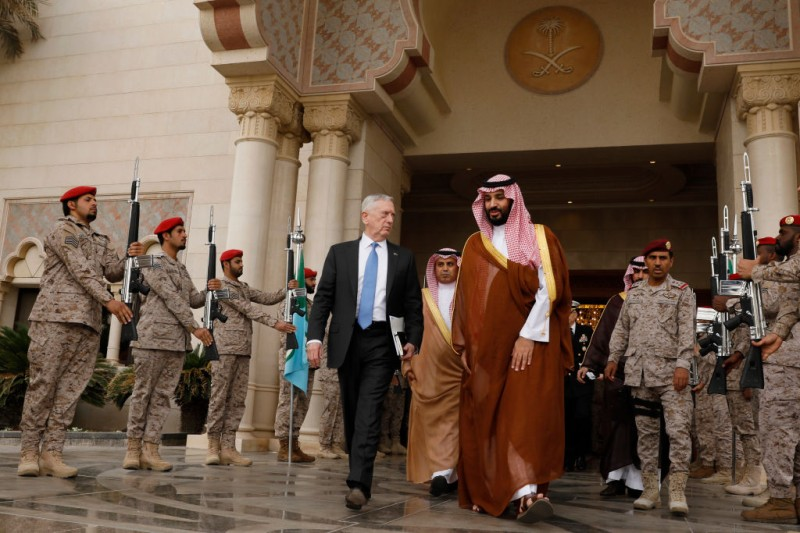 RIYADH, SAUDI ARABIA - APRIL 19: U.S. Defense Secretary James Mattis (L) departs after meeting with Saudi Arabia's Deputy Crown Prince and Defense Minister Mohammed bin Salman (R) at the Ministry of Defense on April 19, 2017 in Riyadh, Saudi Arabia. (Photo by Jonathan Ernst - Pool/Getty Images)