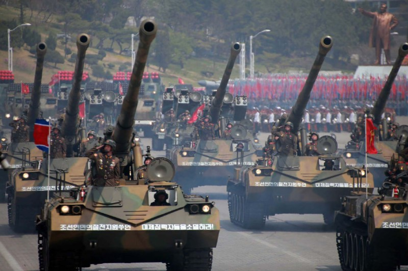 """This April 15, 2017 picture released from North Korea's official Korean Central News Agency (KCNA) on April 16, 2017 shows Korean People's howitzers being displayed through Kim Il-Sung square during a military parade in Pyongyang marking the 105th anniversary of the birth of late North Korean leader Kim Il-Sung. / AFP PHOTO / KCNA VIA KNS / STR / South Korea OUT / REPUBLIC OF KOREA OUT   ---EDITORS NOTE--- RESTRICTED TO EDITORIAL USE - MANDATORY CREDIT """"AFP PHOTO/KCNA VIA KNS"""" - NO MARKETING NO ADVERTISING CAMPAIGNS - DISTRIBUTED AS A SERVICE TO CLIENTS THIS PICTURE WAS MADE AVAILABLE BY A THIRD PARTY. AFP CAN NOT INDEPENDENTLY VERIFY THE AUTHENTICITY, LOCATION, DATE AND CONTENT OF THIS IMAGE. THIS PHOTO IS DISTRIBUTED EXACTLY AS RECEIVED BY AFP.  /         (Photo credit should read STR/AFP/Getty Images)"""
