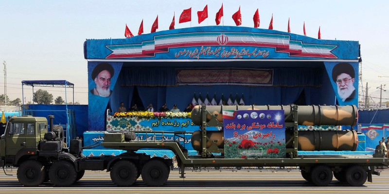 An Iranian military truck carries parts of the S300 missile system during the annual military parade marking the anniversary of the start of Iran's 1980-1988 war with Iraq, on September 21, 2016, in the capital Tehran. / AFP / CHAVOSH HOMAVANDI        (Photo credit should read CHAVOSH HOMAVANDI/AFP/Getty Images)