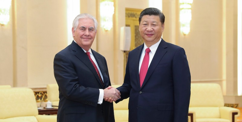 BEIJING, CHINA - MARCH 19:  Chinese President Xi Jinping (R) shakes hands with U.S. Secretary of State Rex Tillerson before their meeting at at the Great Hall of the People on March 19, 2017 in Beijing, China.Tillerson is on his first visit to Asia as Secretary of State.  (Photo by Lintao Zhang/Getty Images)