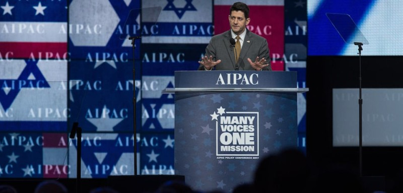 US House Speaker Paul Ryan addresses the American Israel Public Affairs Committee (AIPAC) policy conference in Washington, DC, on March 27, 2017. / AFP PHOTO / NICHOLAS KAMM        (Photo credit should read NICHOLAS KAMM/AFP/Getty Images)