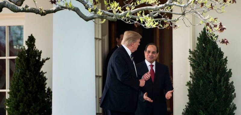 US President Donald Trump (L) and Egypt's President Abdel Fattah el-Sisi walk from the Oval Office to a luncheon after a meeting at the White House April 3, 2017 in Washington, DC. / AFP PHOTO / Brendan Smialowski        (Photo credit should read BRENDAN SMIALOWSKI/AFP/Getty Images)