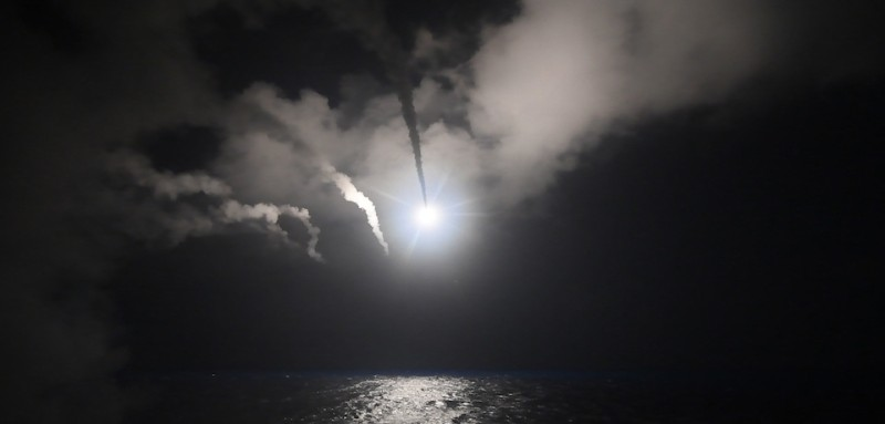 A U.S. Tomahawk missile flies toward Syria on April 7, 2017. (Ford Williams/U.S. Navy via Getty Images)