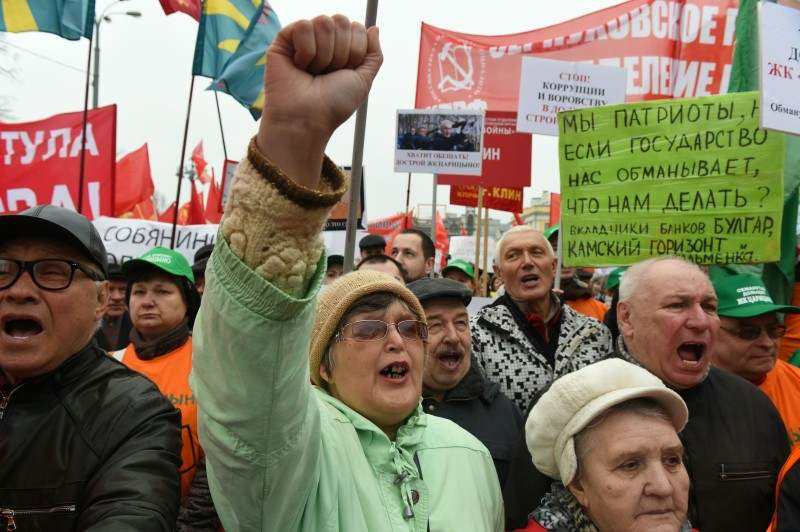 Supporters of the Russian Communist Party attend a rally in central Moscow on April 8, 2017.  / AFP PHOTO / VASILY MAXIMOV        (Photo credit should read VASILY MAXIMOV/AFP/Getty Images)