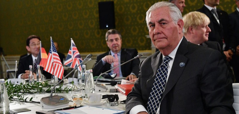 From left : Japanese Foreign Minister Fumio Kishida, German Foreign Minister Sigmar Gabriel, US Secretary of State Rex Tillerson and British Foreign Secretary Boris Johnson sit at a table on the second day of a meeting of Foreign Affairs Ministers from the Group of Seven (G7) industrialised countries on April 11, 2017 in Lucca, Tuscany.   / AFP PHOTO / Vincenzo PINTO        (Photo credit should read VINCENZO PINTO/AFP/Getty Images)