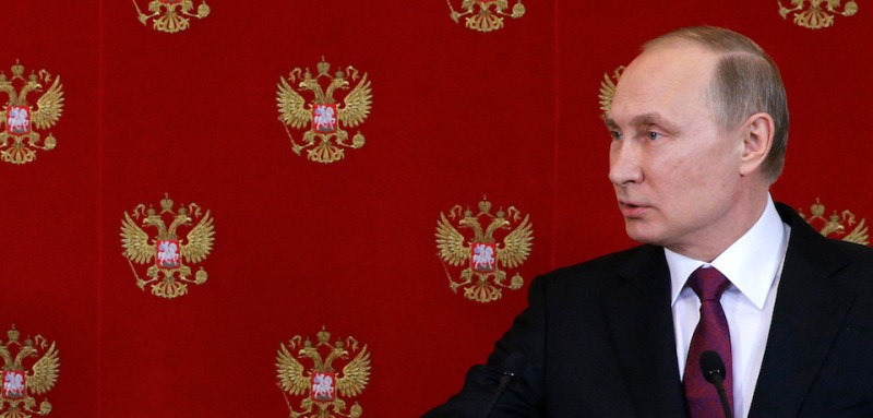 "Russian President Vladimir Putin holds a press conference in Moscow on April 11, 2017. Russian President Vladimir Putin on April 11, 2017, warned of future chemical weapons ""provocations"" in Syria that would be used to frame Kremlin ally Bashar al-Assad. ""We have information from various sources that such provocations -- I cannot call them otherwise -- are being prepared in other regions of Syria, including in the southern outskirts of Damascus, where they are again planning to throw some kind of substance and accuse Syrian official authorities of using it,"" Putin said during a televised press conference.  / AFP PHOTO / POOL / SERGEI CHIRIKOV        (Photo credit should read SERGEI CHIRIKOV/AFP/Getty Images)"