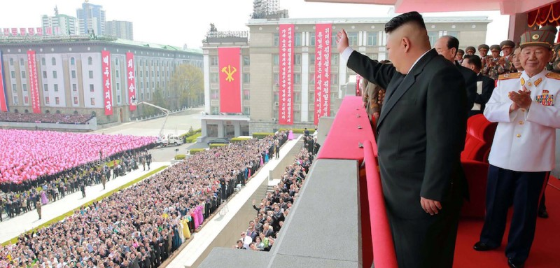 """This April 15, 2017 picture released from North Korea's official Korean Central News Agency (KCNA) on April 16, 2017 shows North Korean leader Kim Jong-Un waving to people after the military parade in Pyongyang marking the 105th anniversary of the birth of late North Korean leader Kim Il-Sung. / AFP PHOTO / KCNA VIA KNS / STR / South Korea OUT / REPUBLIC OF KOREA OUT   ---EDITORS NOTE--- RESTRICTED TO EDITORIAL USE - MANDATORY CREDIT """"AFP PHOTO/KCNA VIA KNS"""" - NO MARKETING NO ADVERTISING CAMPAIGNS - DISTRIBUTED AS A SERVICE TO CLIENTS THIS PICTURE WAS MADE AVAILABLE BY A THIRD PARTY. AFP CAN NOT INDEPENDENTLY VERIFY THE AUTHENTICITY, LOCATION, DATE AND CONTENT OF THIS IMAGE. THIS PHOTO IS DISTRIBUTED EXACTLY AS RECEIVED BY AFP.  /         (Photo credit should read STR/AFP/Getty Images)"""
