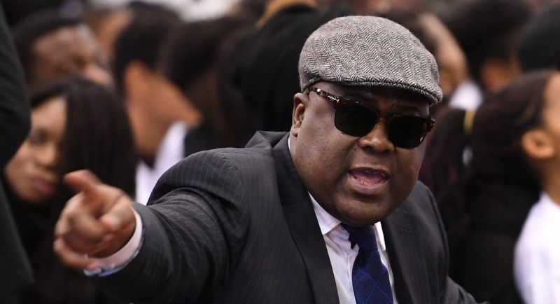 Felix Tshisekedi, the son of Democratic Republic of Congo (DRC) late opposition leader Etienne Tshisekedi takes part in a funeral wake for her late husband, in Brussels on February 5, 2017.  A three-day funeral wake in memory of Tshisekedi started on February 3, 2017 after the main DRC opposition leader died in Brussels aged 84 on February 1, 2017. / AFP / EMMANUEL DUNAND        (Photo credit should read EMMANUEL DUNAND/AFP/Getty Images)