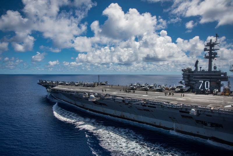 PHILIPPINE SEA - APRIL 23: In this photo provided by the U.S. Navy, the USS Carl Vinson transits the Philippine Sea while conducting a bilateral exercise with the Japan Maritime Self-Defense Force on April 23, 2017 in the Philippine Sea. The Carl Vinson Carrier Strike Group is operating as part of U.S. 7th Fleet, but remains deployed under the U.S. 3rd Fleet Forward operating concept, which provides additional options to the Pacific Fleet commander.  U.S. Navy aircraft carrier strike groups have patrolled the Indo-Asia-Pacific regularly and routinely for more than 70 years. (Photo by USN Mass Communication Specialist 2nd Class Z.A. Landers via Getty Images)