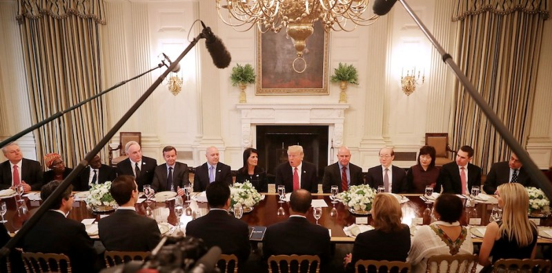 WASHINGTON, DC - APRIL 24:  U.S. President Donald Trump (C) delivers remarks while hosting ambassadors from the 15 country members of the United Nations Security Council flanked by his Ambassador to the U.N. Nikki Haley (L) and National Security Advisor H.R. McMaster in the State Dining Room at the White House April 24, 2017 in Washington, DC. Trump was frank in his opening remarks, saying that Haley had briefed him about each member of the council and he said he liked them all.  (Photo by Chip Somodevilla/Getty Images)