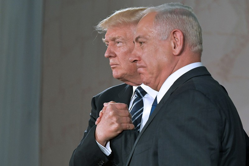 U.S. President Donald Trump, left, and Israel's Prime Minister Benjamin Netanyahu shake hands after delivering a speech at the Israel Museum in Jerusalem on May 23, 2017. (Mandel Ngan/AFP/Getty Images)