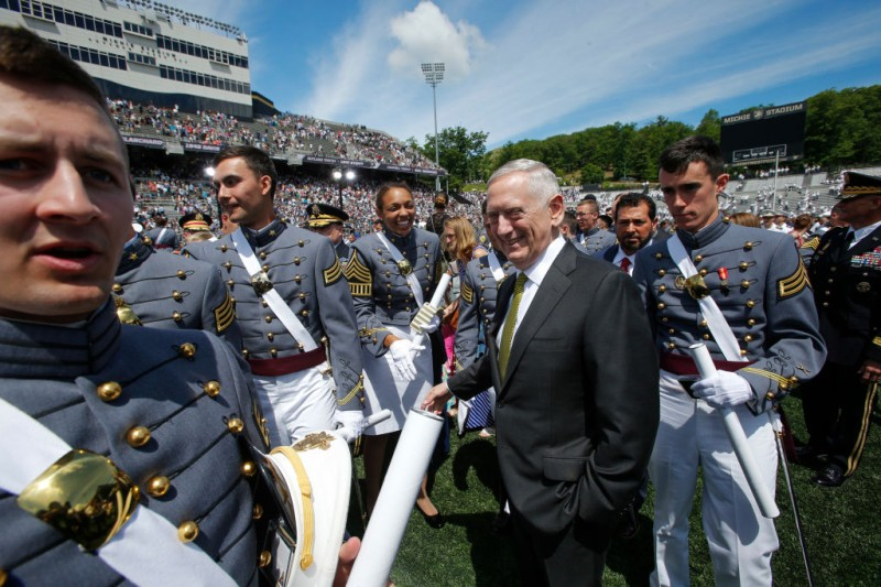 WEST POINT, NY - MAY 27:  U.S. Defense Secretary Jim Mattis greets West Point graduates at the conclusion of the U.S. Military Academy Class of 2017 graduation ceremony at Michie Stadium on May 27, 2017 in West Point, New York. Secretary Mattis addressed the 950 graduating cadets during the ceremony. (Photo by Eduardo Munoz Alvarez/Getty Images)