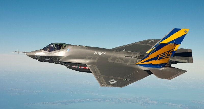 "IN AIR, NAVAL AIR STATION PATUXENT RIVER, MD - FEBRUARY 11:  (EDITORS NOTE: Image has been received by U.S. Military prior to transmission) In this image released by the U.S. Navy courtesy of Lockheed Martin, the U.S. Navy variant of the F-35 Joint Strike Fighter, the F-35C, conducts a test flight February 11, 2011 over the Chesapeake Bay. Lt. Cmdr. Eric ""Magic"" Buus flew the F-35C for two hours, checking instruments that will measure structural loads on the airframe during flight maneuvers. The F-35C is distinct from the F-35A and F-35B variants with larger wing surfaces and reinforced landing gear for greater control when operating in the demanding carrier take-off and landing environment. (Photo by U.S. Navy photo courtesy Lockheed Martin via Getty Images)"