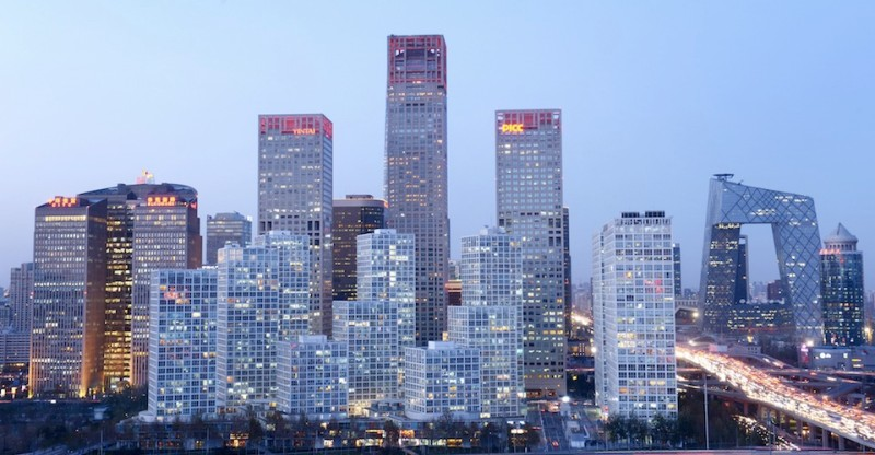 A general view shows the skyline of a central business district in Beijing on November 27, 2013. Foreign investment into China rose 5.77 percent on year in the first 10 months of 2013, the government said on November 19.     AFP PHOTO / WANG ZHAO        (Photo credit should read WANG ZHAO/AFP/Getty Images)