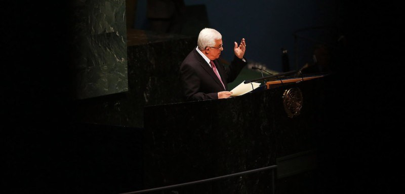 NEW YORK, NY - NOVEMBER 29:  Palestinian Authority President Mahmoud Abbas addresses the General Assembly at the United Nations before a UN General Assembly vote on upgrading the status of the Palestinians to non-member observer state on November 29, 2012 in New York City. With many European nations in favor, it looks certain that the Palestinians will win the coveted U.N. recognition as a state today.  (Photo by Spencer Platt/Getty Images)