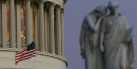 WASHINGTON, DC - DECEMBER 14:  A flag at the U.S. Capitol has been lowered  to half staff after President Barack Obama ordered the action while speaking on the shootings at the Sandy Hook Elementary School December 14, 2012 in Washington, DC. Obama called for 'meaningful action' in the wake of the latest school shooting that left 27 dead, including 20 children.  (Photo by Mark Wilson/Getty Images)