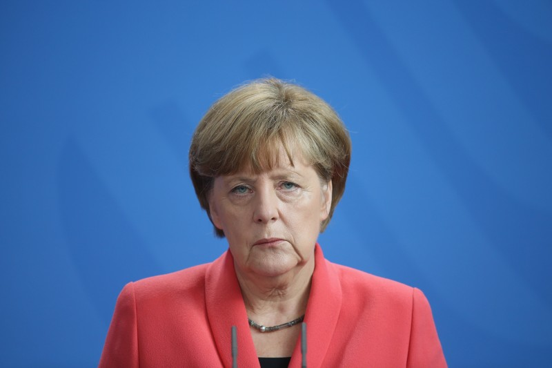 BERLIN, GERMANY - JUNE 29:  German Chancellor Angela Merkel speaks to the media following an extraordinary meeting with leaders of Germany's main political parties at the Chancellery the day after the European Central Bank announced it would not extend emergency funding to Greece on June 29, 2015 in Berlin, Germany. Stock markets in Europe were markedly down today and the Greek government ordered cash machines turned off and a tightening on the flow of capital in an effort to staunch citizens' withdrawals.  (Photo by Sean Gallup/Getty Images)
