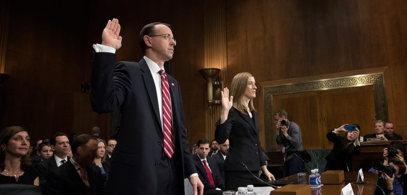 WASHINGTON, DC - MARCH 07:  Deputy U.S. Attorney General nominee Rod Rosenstein (L) and Rachel Brand (R), nominee for associate attorney general, are sworn in prior to testimony before the Senate Judiciary Committee March 7, 2017 in Washington, DC. During the hearing, Democratic senators pressed Rosenstein to appoint a special prosecutor in an ongoing federal inquiry into Russian influence in the U.S. presidential election.  (Photo by Win McNamee/Getty Images)