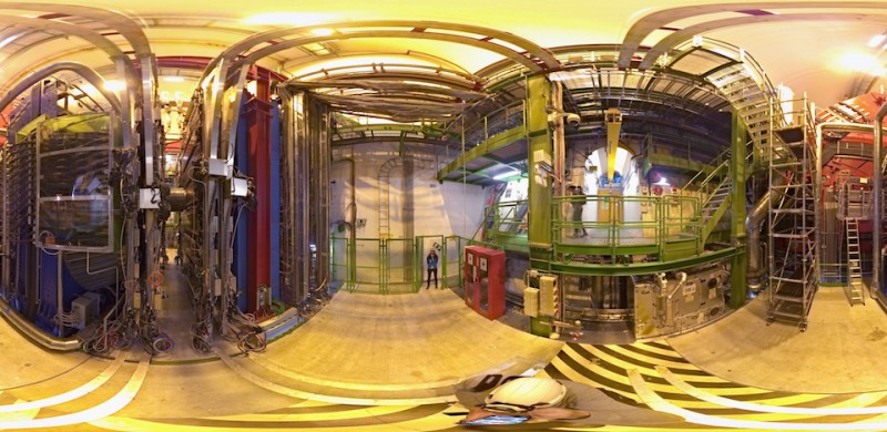 MEYRIN, SWITZERLAND - APRIL 19:  (EDITOR'S NOTE: Image was created as an 360° X 360° full-spherical, Panoramic ball camera. Import image into a panoramic player to create an interactive 360 degree view.)  A general view of the ALICE (A Large Ion Collider Experiment) cavern and detector during a behind the scenes tour at CERN, the World's Largest Particle Physics Laboratory on April 19, 2017 in Meyrin, Switzerland.  ALICE (A Large Ion Collider Experiment) is a heavy-ion detector on the Large Hadron Collider (LHC) ring. It is designed to study the physics of strongly interacting matter at extreme energy densities, where a phase of matter called quark-gluon plasma forms. The ALICE detectors weighs 10,000-tonne and is 26 m long, 16 m high, and 16 m wide. It sits in a vast cavern 56 m below ground close to the village of St Genis-Pouilly in France.  (Photo by Dean Mouhtaropoulos/Getty Images)
