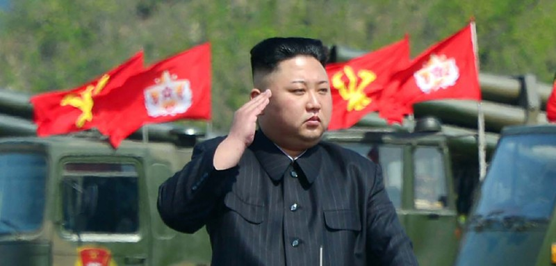 """This undated picture released by North Korea's official Korean Central News Agency (KCNA) on April 26, 2017 shows North Korean leader Kim Jong-Un (C) attending the combined fire demonstration of the services of the Korean People's Army in celebration of its 85th founding anniversary at the airport of eastern front. / AFP PHOTO / KCNA VIA KNS / STR / South Korea OUT / REPUBLIC OF KOREA OUT   ---EDITORS NOTE--- RESTRICTED TO EDITORIAL USE - MANDATORY CREDIT """"AFP PHOTO/KCNA VIA KNS"""" - NO MARKETING NO ADVERTISING CAMPAIGNS - DISTRIBUTED AS A SERVICE TO CLIENTS THIS PICTURE WAS MADE AVAILABLE BY A THIRD PARTY. AFP CAN NOT INDEPENDENTLY VERIFY THE AUTHENTICITY, LOCATION, DATE AND CONTENT OF THIS IMAGE. THIS PHOTO IS DISTRIBUTED EXACTLY AS RECEIVED BY AFP.  /         (Photo credit should read STR/AFP/Getty Images)"""