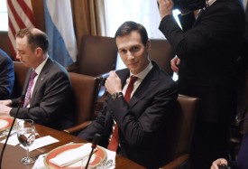 WASHINGTON, DC - APRIL 27:  (AFP OUT) Senior advisor Jared Kushner  looks on during a working luncheon with President Mauricio Macri of Argentina in the Cabinet Room of the White House April 27, 2017 in Washington, DC. Trump is scheduled to meet with Macri throughout the morning and early afternoon to discuss a range of bilateral issues.  (Photo by Olivier Douliery-Pool/Getty Images)