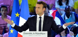 PARIS, FRANCE - MAY 01:  French Presidential Candidate Emmanuel Macron addresses voters during a political meeting at Grande Halle de La Villette on May 1, 2017 in Paris, France.  Emmanuel Macron faces President of the National Front, Marine Le Pen  in the final round of the French presidential elections on May 07.   (Photo by Aurelien Meunier/Getty Images)