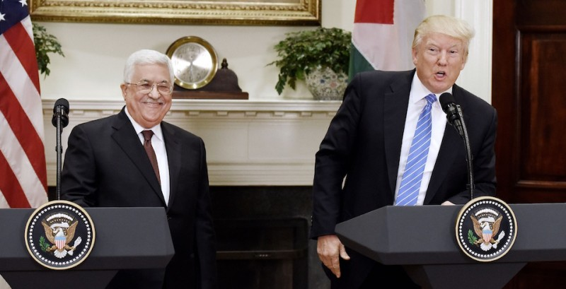 WASHINGTON, DC - MAY 03: U.S President Donald Trump gives a joint statement with President Mahmoud Abbas of the Palestinian Authority in the Roosevelt Room  of the White House on May 3, 2017 in Washington, DC. (Photo by Olivier Douliery-Pool/Getty Images)
