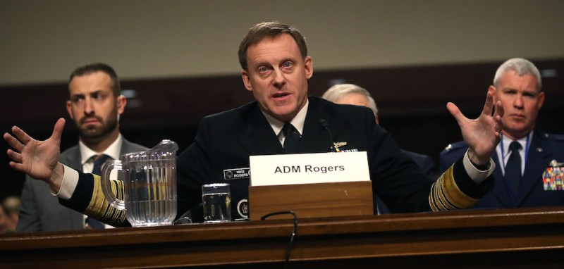 WASHINGTON, DC - MAY 09:  Navy Adm. Michael Rogers, commander of the U.S. Cyber Command, and Director of the National Security Agency, testifies during a Senate Armed Services Committee hearing regarding the U.S. Cyber Command, on Capitol Hill May 9, 2017 in Washington, DC.  (Photo by Mark Wilson/Getty Images)