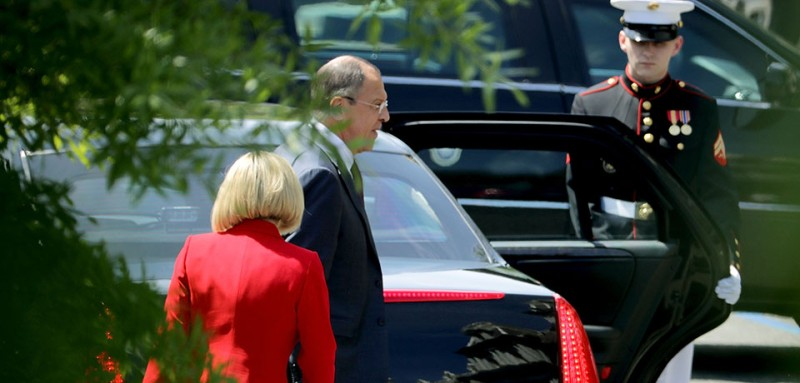 WASHINGTON, DC - MAY 10:  Russian Foreign Minister Sergey Lavrov (C) leaves the White House May 10, 2017 in Washington, DC. Lavrov met with U.S. President Donald Trump to discuss Ukraine, Syria and other bilaterial subjects, according to the White House.  (Photo by Chip Somodevilla/Getty Images)