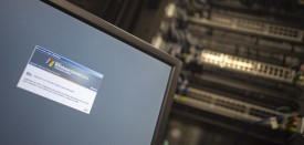 A computer running a Windows Server is seen connected into a network server in an office building in Washington, DC on May 13, 2017.  International investigators hunted on May 13 for those behind an unprecedented cyber-attack that affected systems in dozens of countries, including at banks, hospitals and government agencies, as security experts sought to contain the fallout. The assault, which began Friday and was being described as the biggest-ever cyber ransom attack, struck state agencies and major companies around the world -- from Russian banks and British hospitals to FedEx and European car factories. / AFP PHOTO / Andrew CABALLERO-REYNOLDS        (Photo credit should read ANDREW CABALLERO-REYNOLDS/AFP/Getty Images)