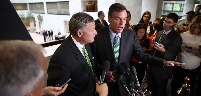 WASHINGTON, DC - MAY 23:  Sen. Richard Burr (L) (R-NC), Chairman of the Senate Select Committee on Intelligence, and ranking member of the committee Sen. Mark Warner (R) (D-VA) speak to reporters after a meeting of the committee on Capitol Hill May 23, 2017 in Washington, DC. Burr and Warner discussed former National Security Advisor Michael Flynn's reluctance to cooperate with the committee's investigation during their remarks.  (Photo by Win McNamee/Getty Images)