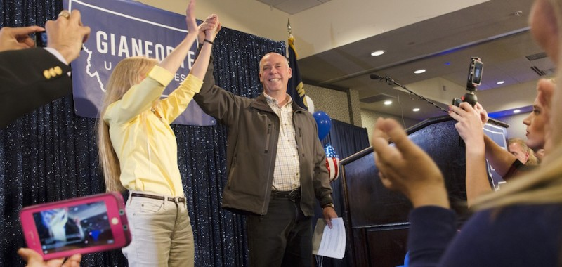 BOZEMAN, MT - MAY 25:  Republican Greg Gianforte scelebrates with supporters after being declared the winner at a election night party for Montana's special House election against Democrat Rob Quist at the Hilton Garden Inn on May 25, 2017 in Bozeman, Montana. Gianforte won one day after being charged for assuulting a reporter. The House seat was left open when Montana House Representative Ryan Zinke was appointed Secretary of Interior by President Trump. (Photo by Janie Osborne/Getty Images)