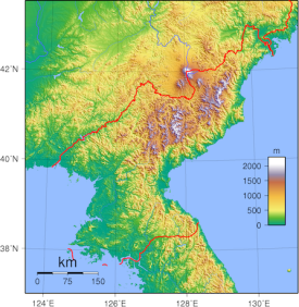Topographic map of North Korea. (Wikimedia Commons)