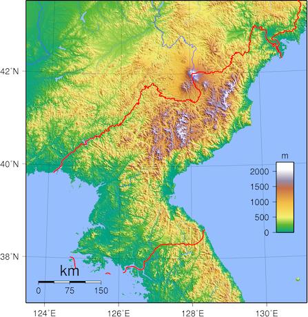 Topographic map of North Korea. (Wikimedia Commons)
