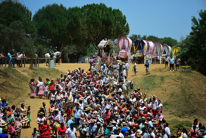 TOPSHOT - Pilgrims walk followed by wagons moments before crossing the Quema river during the annual El Rocio pilgrimage in Villamanrique, near Sevilla on June 1, 2017. El Rocio pilgrimage is the largest in Spain with hundreds of thousands of devotees wearing traditional outfits converging in a burst of colour as they make their way on horseback and decorated carriages across the Andalusian countryside. / AFP PHOTO / CRISTINA QUICLER        (Photo credit should read CRISTINA QUICLER/AFP/Getty Images)