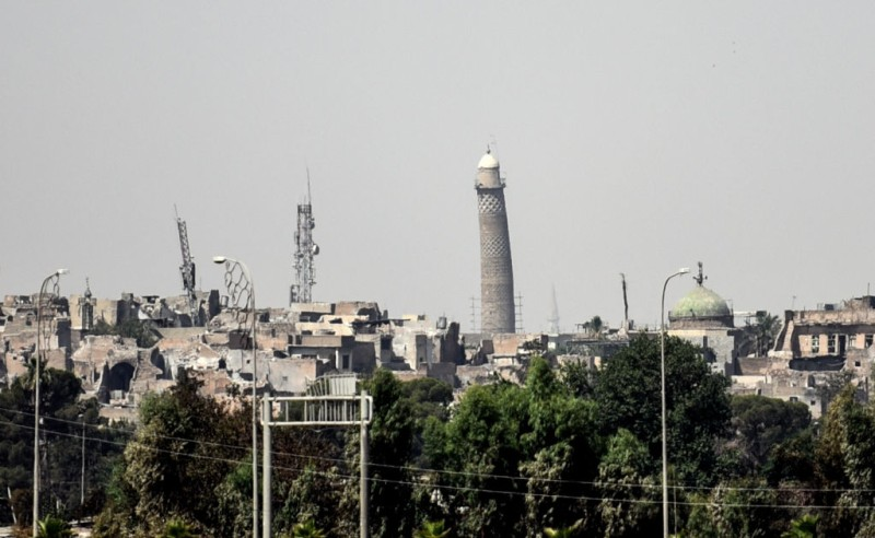 A picture taken on June 20, 2017 shows Mosul's leaning Al-Hadba minaret as the Iraqi forces advance towards the Old City to retake the last district still held by the Islamic State (IS) group fighters. / AFP PHOTO / MOHAMED EL-SHAHED        (Photo credit should read MOHAMED EL-SHAHED/AFP/Getty Images)